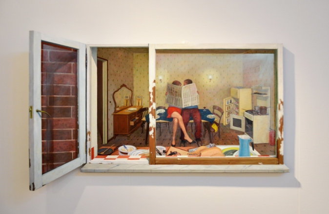"""Paul Critchley's fine three-dimensional painting that he calls """"domestic"""""""
