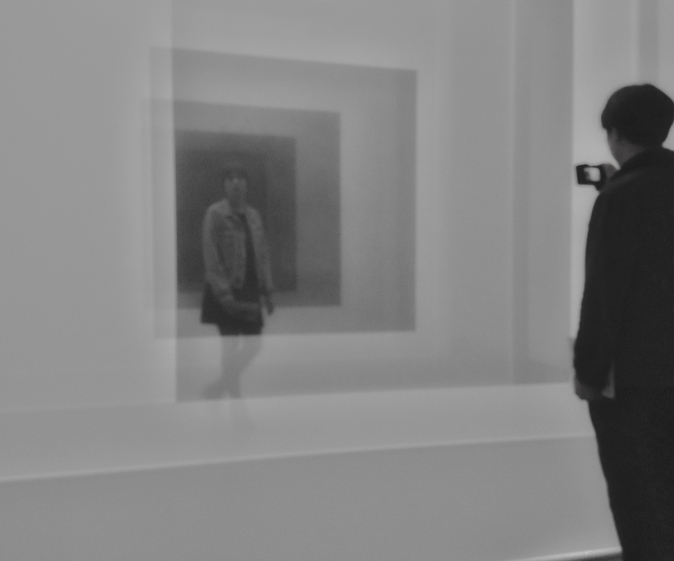 Interaction Through Robert Irwin's installation at Art Basel, Unlimited 2015 © Jan Oberg 2015